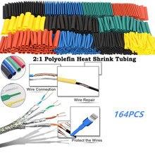 Высокое качество 164 шт набор полиолефина сокращения Ассорти Термоусадочные трубки жильный кабель изолированный трубки комплект трубок