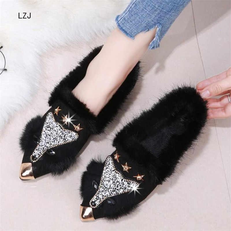 LZJ 2019 mujeres moda punta de Metal Punta de zorro piel de cristal Bling tobillo botas tacón plano cálido invierno zapatos de lujo negro gris