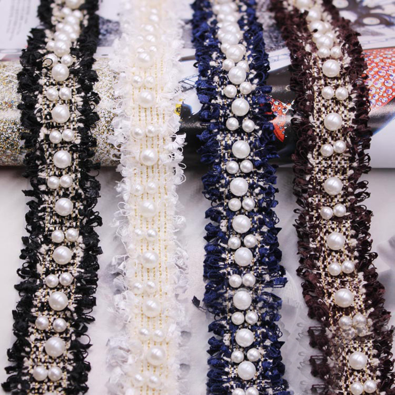3cm geniş Vintage naylon altın inci boncuklu işlemeli dantel Trim şerit kumaş el yapımı DIY el yapımı elbise malzemeleri dikiş