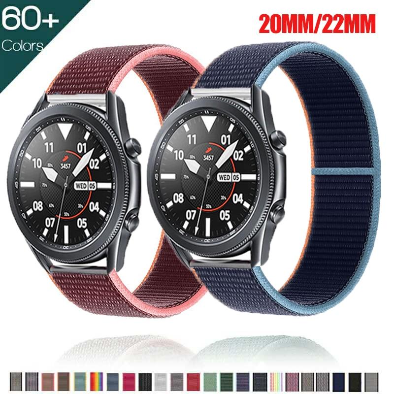 Ремешок 20 мм 22 мм для Samsung Galaxy Watch 3, нейлоновый спортивный браслет-петля для active 2 Gear S3 Huawei watch GT 2 42 мм 46 мм, 45 мм 41 мм