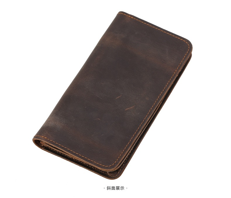 Leather wallet long-layer cowhide long wallet with SIM card slot