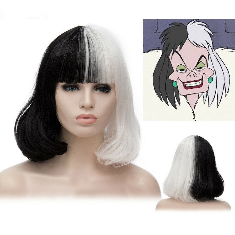 CRUELLA De Vil Short Black White Ms. Spot Hair Deville Dalmations Heat Resistant Cosplay Costume Wigs + Wig Cap