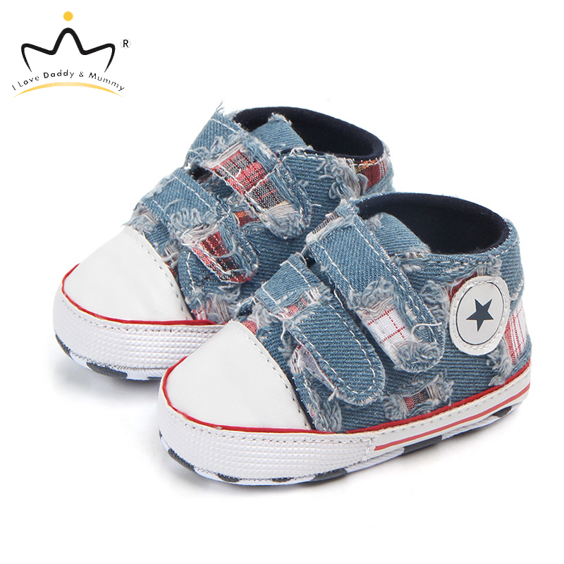 Spring Summer New Baby Shoes Soft Sole Anti Slip Denim Canvas Baby Boy Girl Shoes Toddler Shoes First Walkers