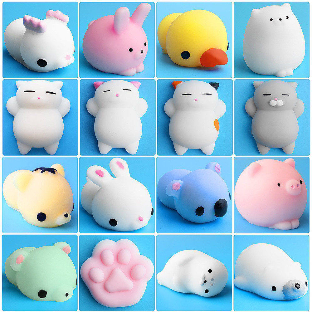 NEW 16pc Mini Squishy Toy Cute Animal Ball Squeeze Mochi Rising Toy Abreact Soft Sticky Squishi Stress Relief Toys Funny Gift enlarge