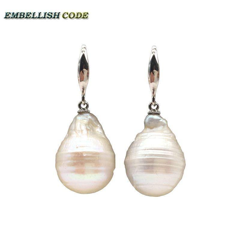 Pendientes de acero inoxidable de gran tamaño barroco especial con forma de bola de fuego color blanco perla natural de agua dulce 925 plata esterlina