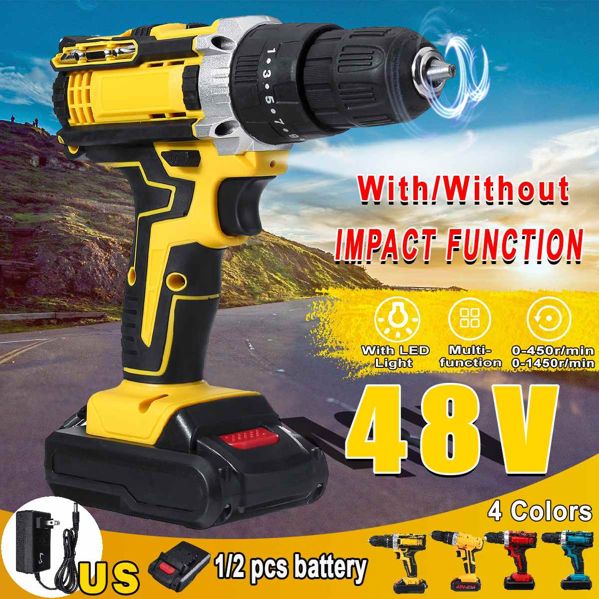 48V 25 Torque 3 Speed Cordless Impact Drill Electric Screwdriver Mini Wireless Power Driver 13000mAh With 2 Lithium-Ion Battery