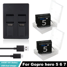 цена на 2x 1600mAh AHDBT-501 Go pro Hero5 battery Hero 6 hero7 bateria AHDBT 501 batteries + Dual Charger For Gopro 5 6 7 Action Camera