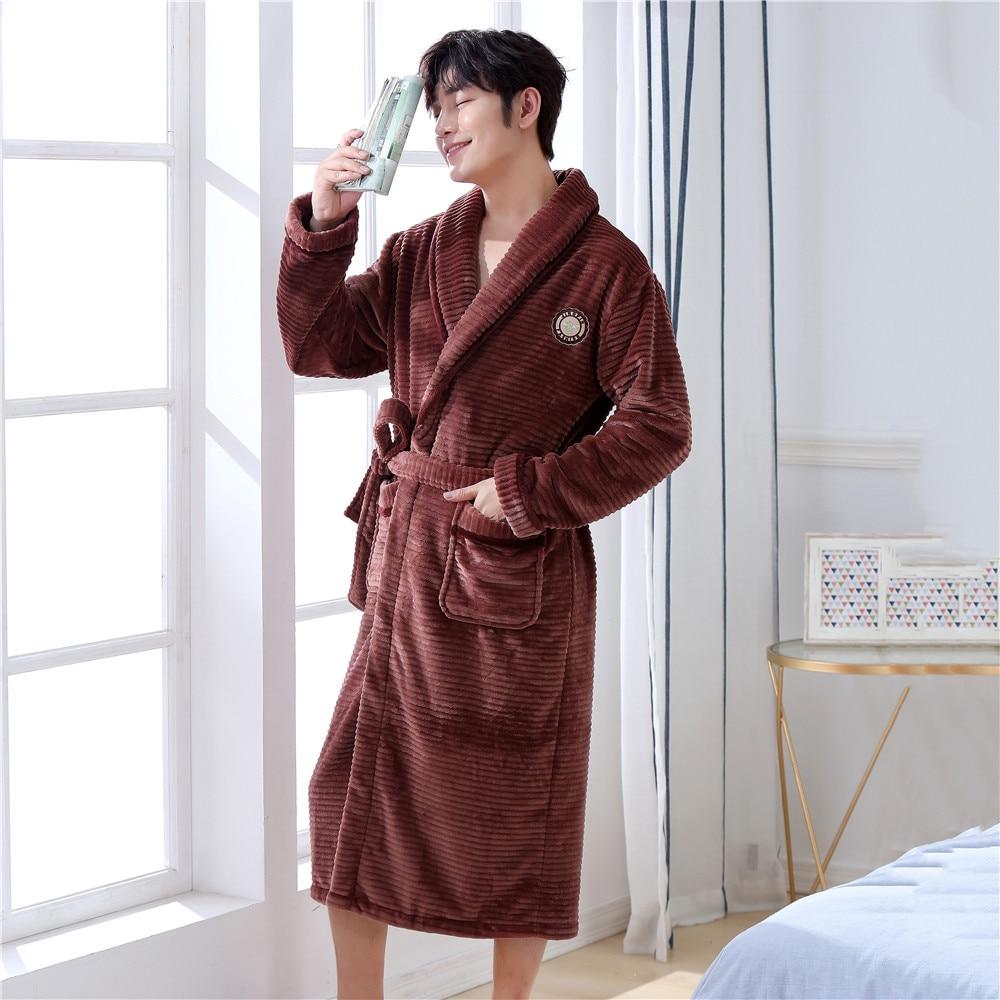 Exquisite Brown Men Winter Bath Gown Comfortable Flannel Keep Warm Kimono Robe Gown Homewear Casual Soft Nightgown Sleepwear
