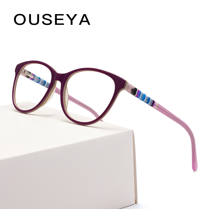 Eyeglasses Frame Woman Retro Clear Vintage Transparent Acetate Prescription Myopia Glasses Optical Frames #F1709 image
