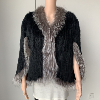 Sales clearance women genuine rabbit fur coat with real silver fur collar poncho coat c012 image