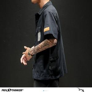 Image 4 - Privathinker Men Safari Style Shirt Streetwear 2020 Mens Japanese Shirts Casual Korean Male Big Pockets Shirts Summer Oversize
