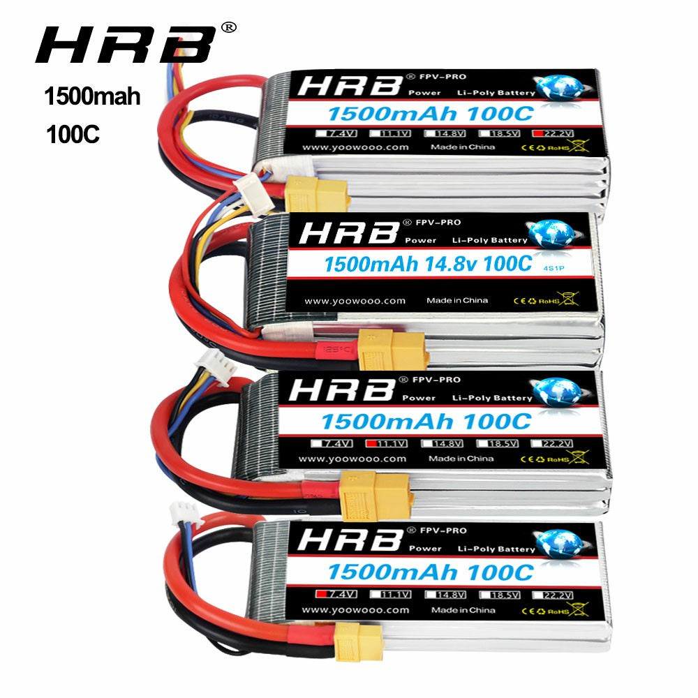 HRB <font><b>3s</b></font> 11.1v lipo battery <font><b>1500mah</b></font> 100C 4S 6S 14.8V 22.2V Lipo with XT60 connector for mini helicopter fpv drone RC Car Truck image