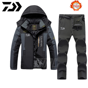 Daiwa Fishing Clothes Sets Outdoor Fishing Clothing Winter Keep Warm Men Fishing Suit Waterproof Fishing Jacket Plus Velvet