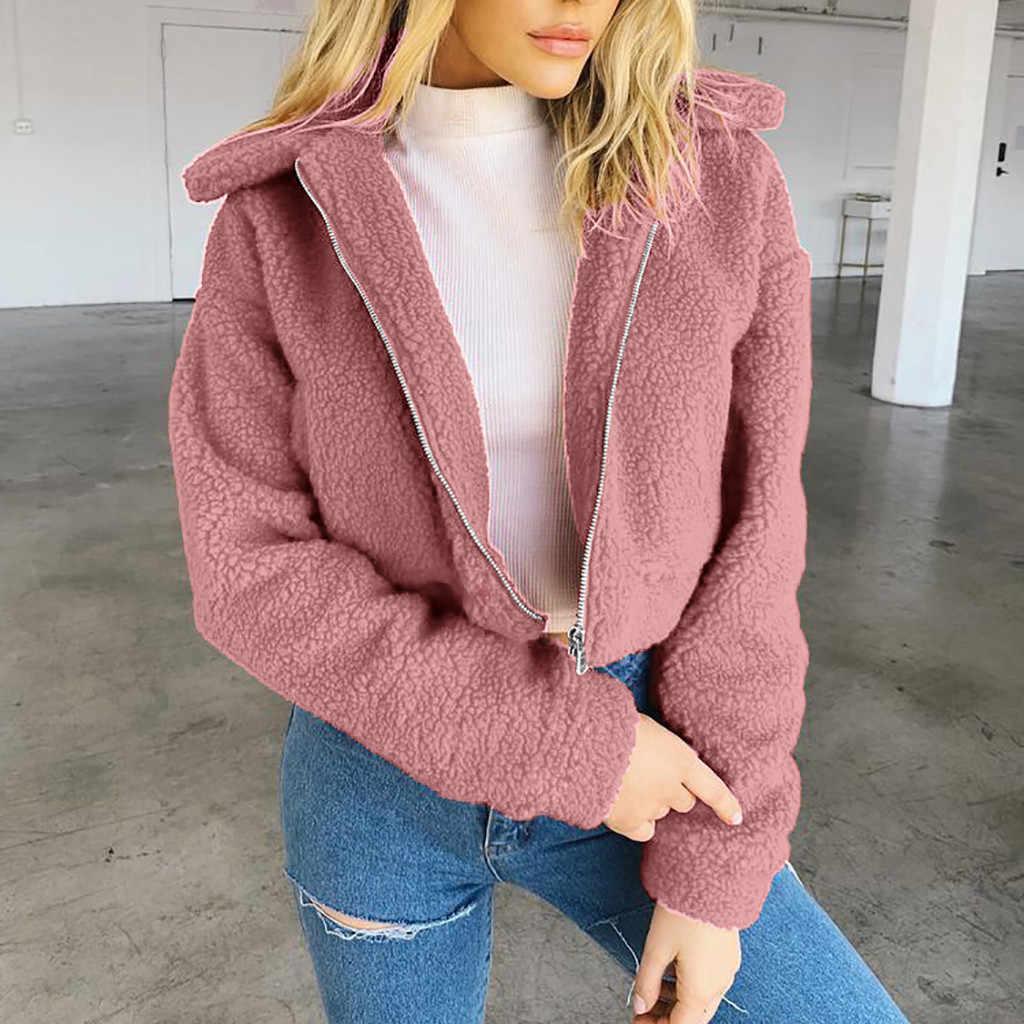 Bulu Imitasi Mantel Wanita Teddy Mantel Wanita Hangat Bulu Imitasi Mantel Jaket Musim Dingin Padat Ritsleting Jaket Pakaian Luar Chaqueta Mujer futro