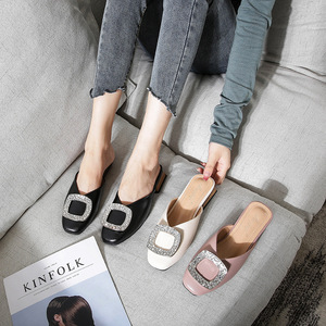 Image 1 - Genuine Leather Mules Women Crystal Buckle Closed Toe Slippers Casual Square Heels Slides Slip on Loafers Ladies Big Size Shoes