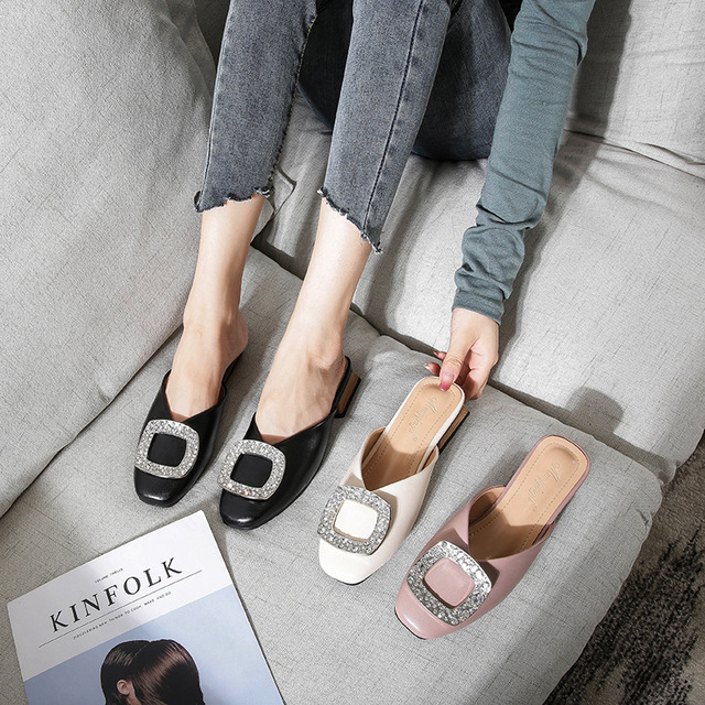 Genuine Leather Mules Women Crystal Buckle Closed Toe Slippers Casual Square Heels Slides Slip on Loafers Ladies Big Size Shoes