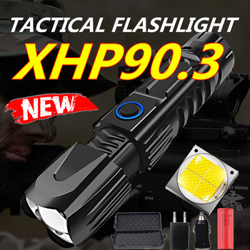 New Pattern Xhp90.3 60000lm Most Powerful Led Torch Led Flashlight Rechargeable Usb Hand Lamp 18650 26650 Tactical Flash Light image
