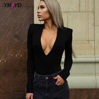 V-ausschnitt Dünne Lange Hülse Body Sexy Bodycon Bodies für Frauen 2021 Herbst frauen Mode Streetwear Casual Outfits Solide
