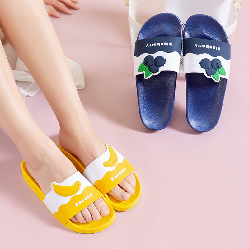 Women Home Indoor Slippers Summer House Cute Fruit Non Slip Thick Soft Sole Bathroom Slides Ladies Shower Shoes Men Light Color