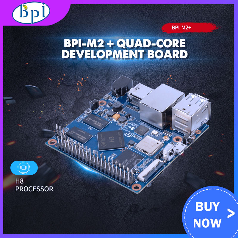 MiNi BPI-M2+plus Banana Pi M2+plus H3 Quad-Core 1GB RAM 8GB EMMC BPI M2+plus WiFi&Bluetooth Demo Board Single Board Computer SBC