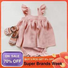 Baby Sommer Kleidung 2Pcs Baby Mädchen Outfits Kinder Mädchen Leinen Kleid + Shorts Kind Kleidung Neugeborenen Baby Mädchen Kleidung sets