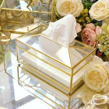 Коробка ткани Европейский Креативный стеклоткань коробка простая гостиная коробка для салфеток нордическая роскошь свет роскошный лоток для салфеток#4W