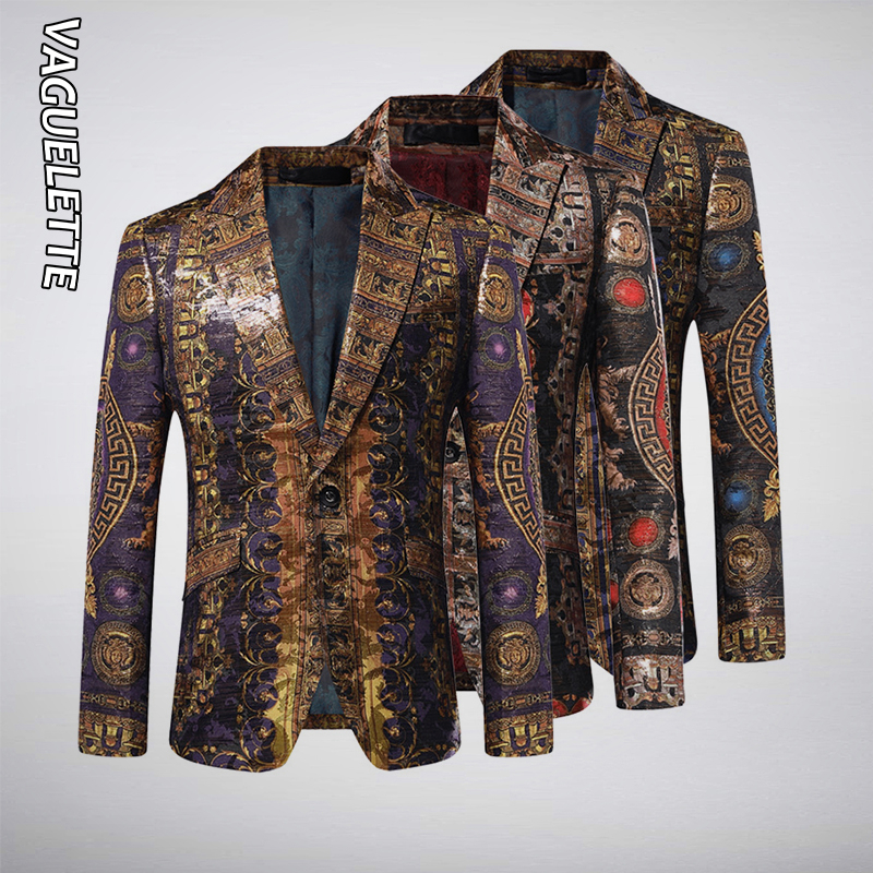 VAGUELETTE Medusa Pattern Luxury Brand Mens Stage Blazer For Wedding Party Singers Wear Slim Fit Printed Italy Style Blazers