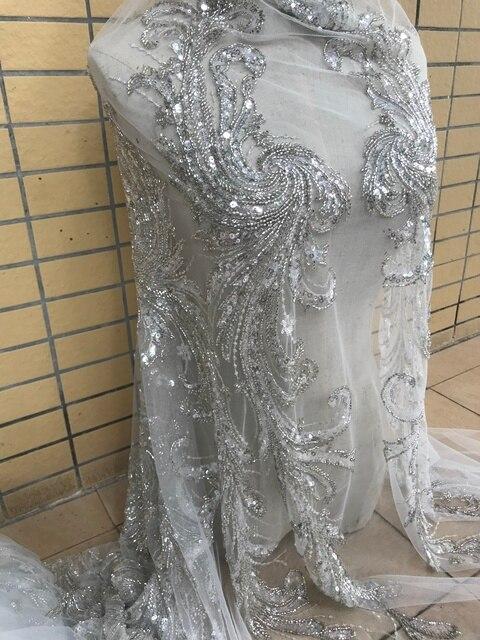 Nieuwe Collectie Hot Selling 5 Werven Kralen Kant Stof Zware Hand Made Mode Afrikaanse Tule Kant Stof Met Kralen