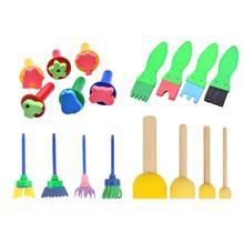 18 шт./компл. DIY Инструменты для рисования штампы игрушки цветок штамп Губка кисти комплект, принадлежности для живописи для детей