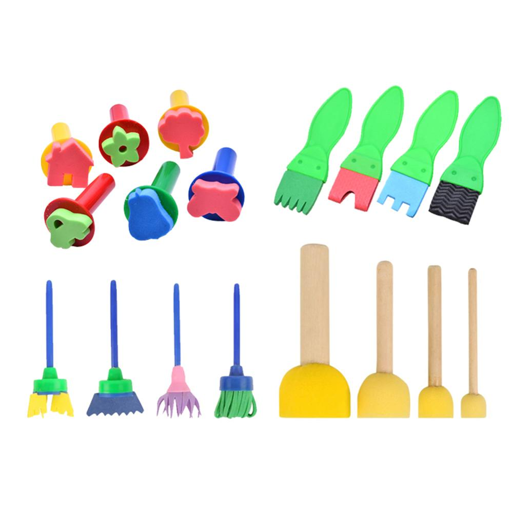 18pcs /Set DIY Painting Tools Stamps Toys Flower Stamp Sponge Brush Set Art Supplies For Kids
