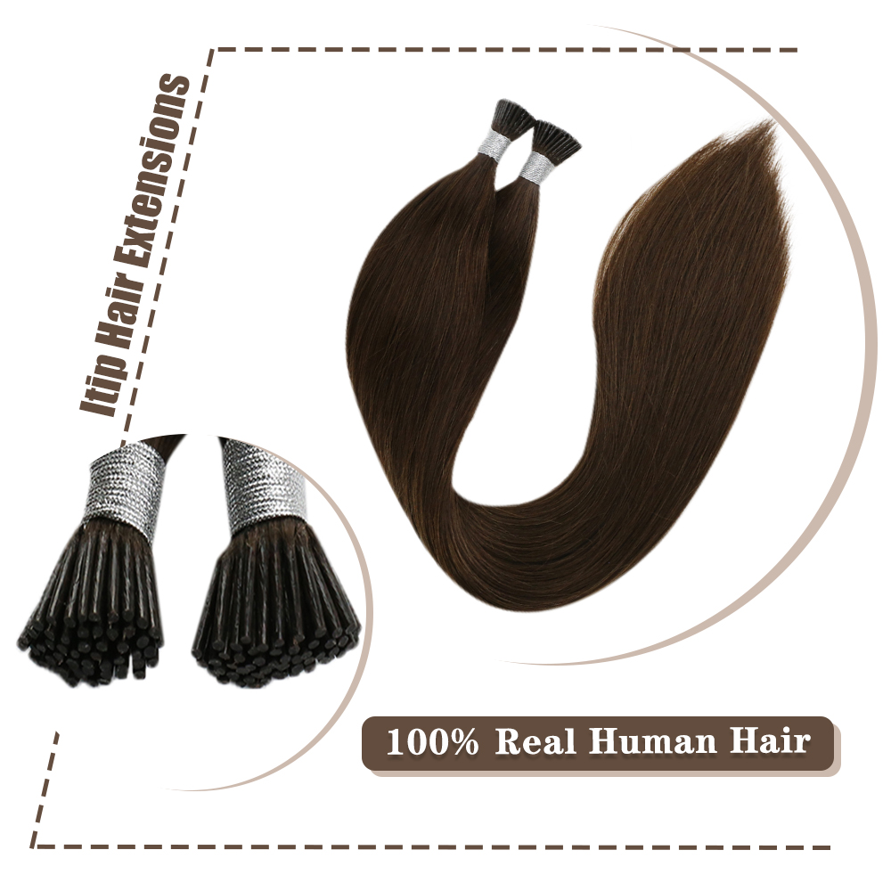 Moresoo I Tip Hair Extension Cold Fusion Machine Remy Human Brazilian Hair Pure Color 50G/50S 16-24 Inches