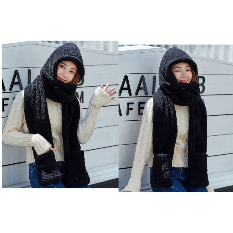 Hot 2019 Fashion Women Warm Sets Solid Color Hood Scarf Snood Pocket Gloves Hat Cute For Winter Outdoor Travel Warm Accessories