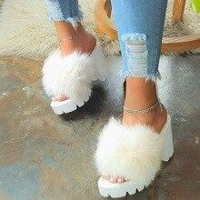 Women's Sandals 2020 Summer High Heels Vintage Plush Fur Slippers Peep Toe Squar