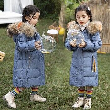Children's down jacket medium long 2019 winter new Korean girls' medium long white duck down coat