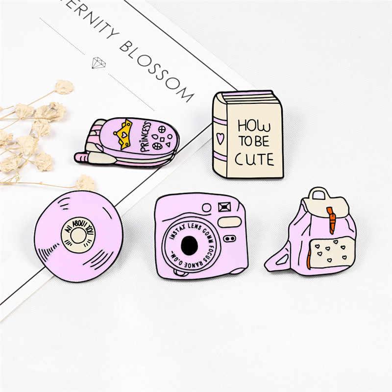 Kartun Kustom Bros Lencana Merah Muda Ponsel Cd Ransel Kamera Enamel Kerah Pin Kemeja Denim Wanita Perhiasan Anak GIF