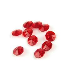 Czerwone 14mm ośmiokątne koraliki z 1 otworem 2 otworami oświetlenie kryształowe części lampy koraliki Strand komponent do domu ślub i DIY tanie tanio CN (pochodzenie) Kryształowy żyrandol 14mm octagon beads K9 crystal Glass crystals for home decoration Glass prism chandelier beads