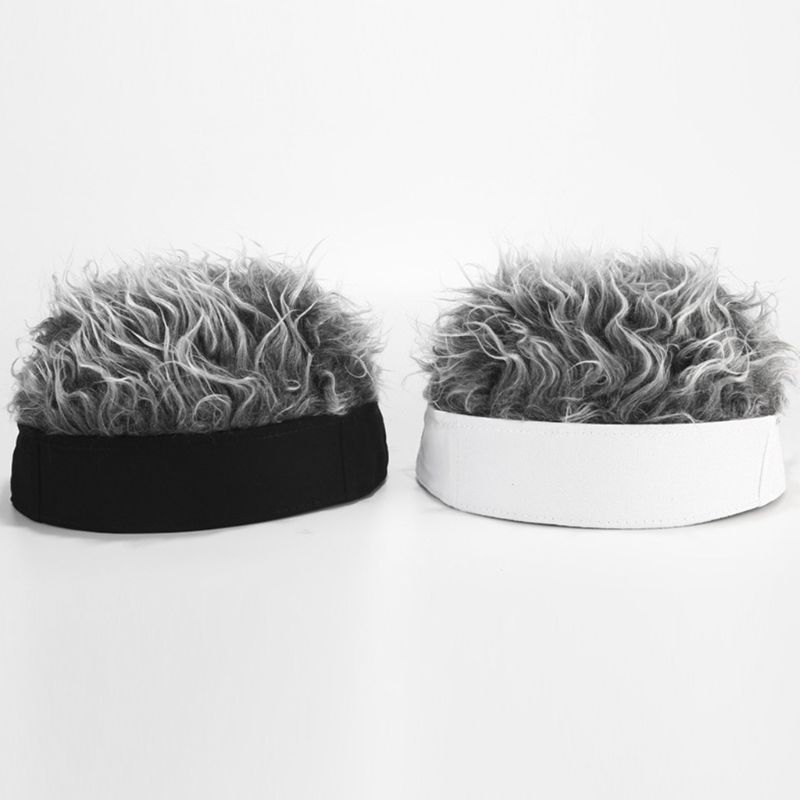 Men Women Novelty Hip Hop Beanie Hat With Spiked Fake Hair Funny Retro Short Melon Wig Skull Landlord Cap Adjustable Streetwear