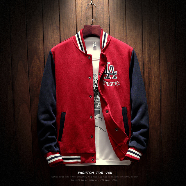 2020 New Arrival Letter Rib Sleeve Cotton Embroidery Logo Single Breasted Casual Bomber Baseball Jacket Loose Cardigan Coat 4