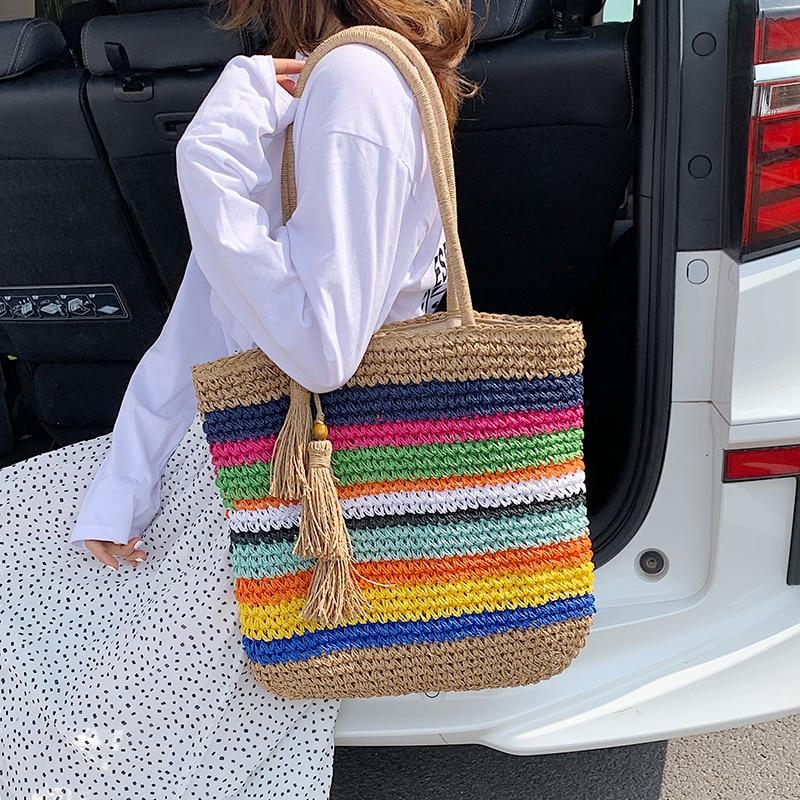 Shopping Bag Female 2020 New Large Capacity Tassel Tote Bag Shoulder Crossbody Ins Fashion Woven Handbag