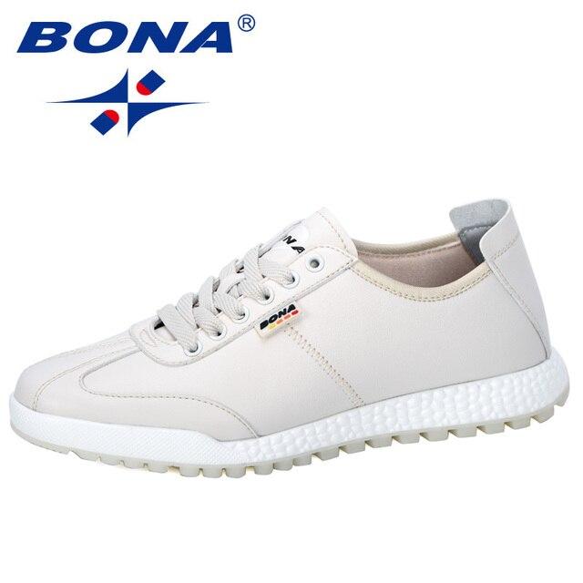 BONA 2019 Phong Cách Mới Vulcanize Giày Nam Sneakers Cổ Không Trượt Thắt Dây Đeo Chống Giày Tenis masculino Giải Trí Giày