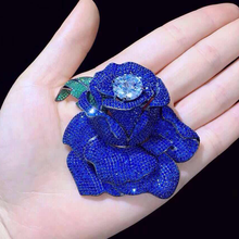 Big Top Grade Beautiful Cubic Zirconia Pave Rose Flower Brooch Pin/connectors(China)