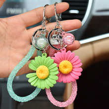 2020 New Cute Candy Color Little Daisy Flower Keychain Fashion Korean Keychains Women Girl Bag Keyring Bracelet Pendant Jewelry