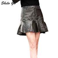 Genuine Leather Skirt Buckle Belted Modern Lady Black Ruffle Hem Skirt Autumn Casual Women Going Out Above Knee Short Skirts