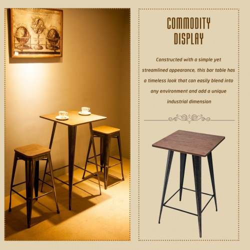 Us 121 75 Bar Table No Chairs Pub Tables Bar Height 40 Inch High Vintage Bistro Table Metal Rectangular On Aliexpress