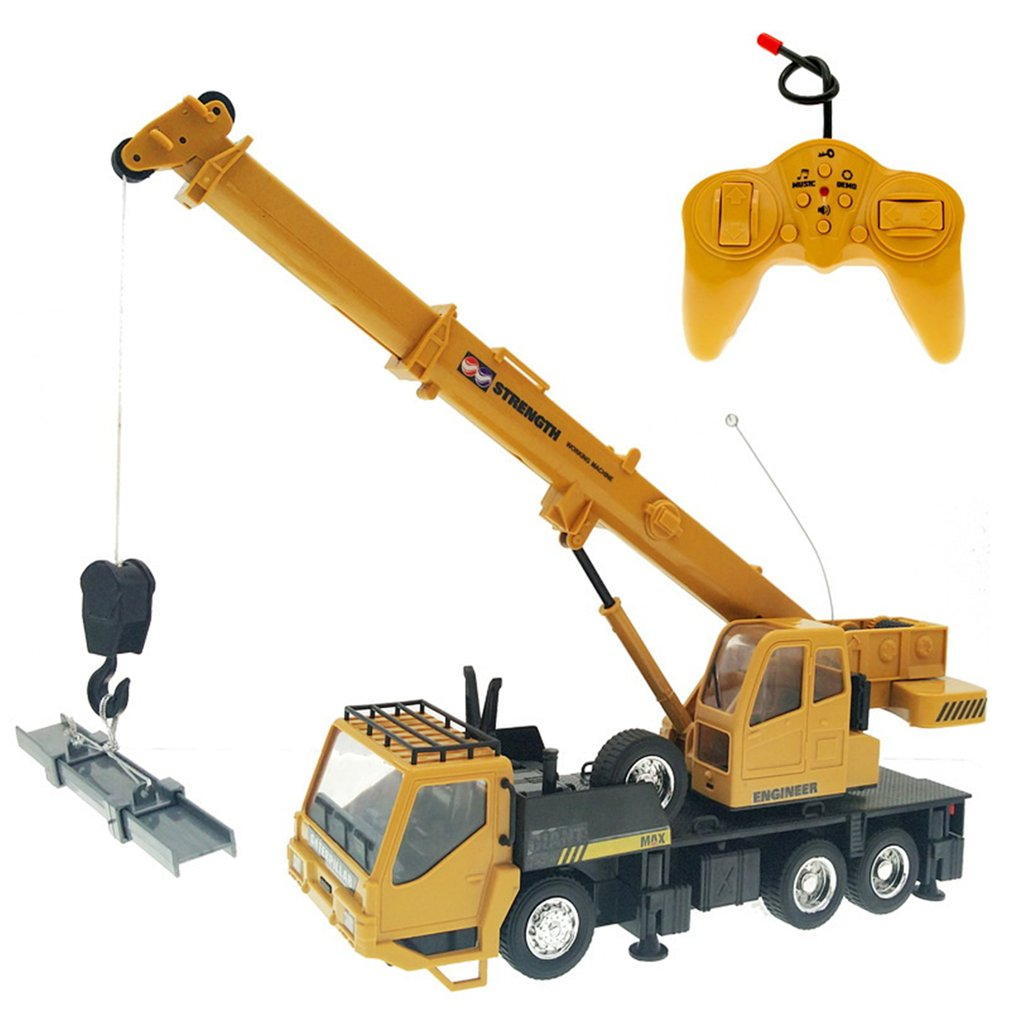 Kids 1:24 Remote Control Truck Crane Toys Rechargeable RC Lift Simulation Engineering Crane Children's Toy Model Rc Car Gift