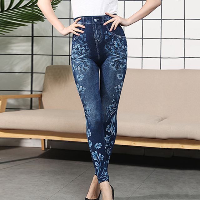 Autumn Women Thermal Leggings Ladies Fleece Faux Denim Seamless Leggings Pants Floral Print Sexy Full Plus Size Pants Streetwear 5