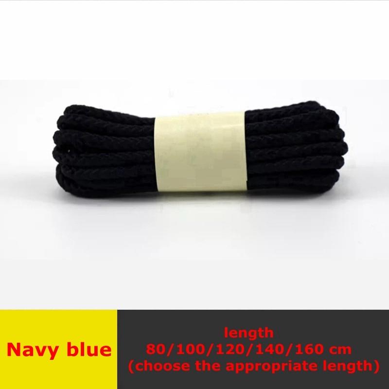 1 пара классические круглые шнурки Уличная обувь для прогулок на шнурках с белой высокой плотностью ткацкие кроссовки для отдыха шнурки унисекс - Цвет: Navy blue