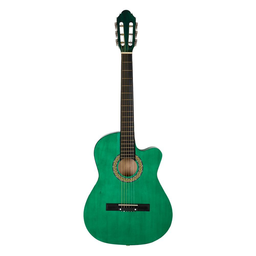 Initiative 38 pouces 6 cordes épicéa avant coupe guitare Folk avec sac & planche & ceinture & cristal liquide accordeur & jeu de cordes vert