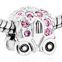 NEW crystal luxury stroller charm beads family. Suitable for Pandora bracelets and beads for jewelry making(China)
