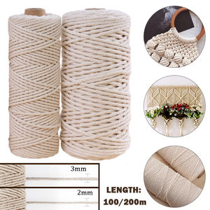 Natural Beige Soft Cotton Cord Rope Craft Macrame Artisan String For Handmade DIY Handmade Tying Thread Cord Rope 2mm*200m